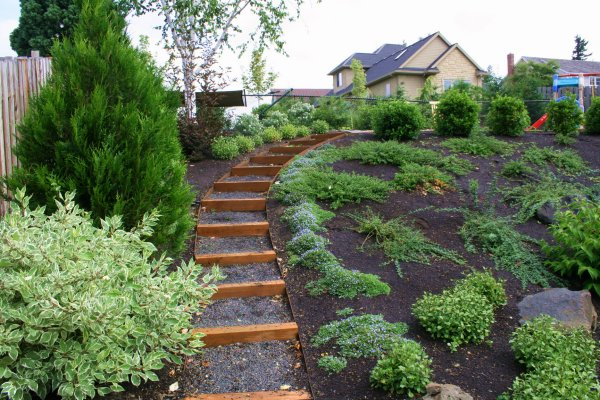 Landscaping backyard slope for Garden designs for slopes